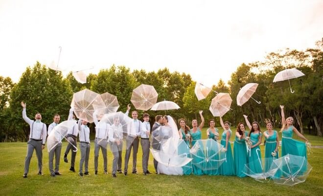 chuva no casamento